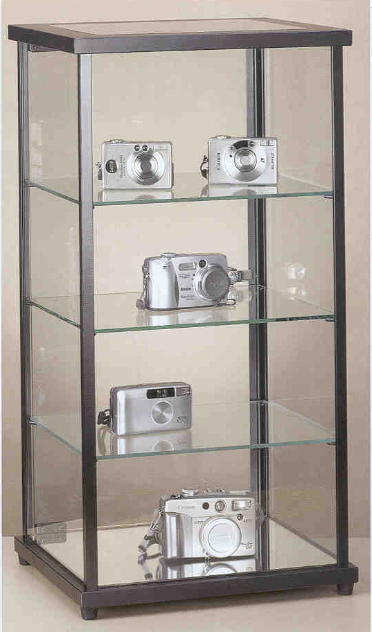 counter top display case, square with shelves